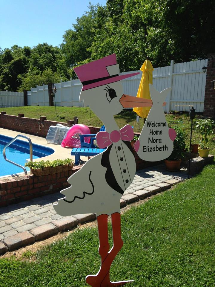 Yorktown Va Girl Stork Sign Welcome Home Baby The